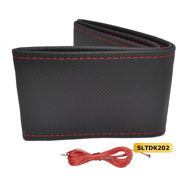 Stuur bekleding (doe-het-zelf) kunstleder geperforeerd - Zwart / rood stiksel