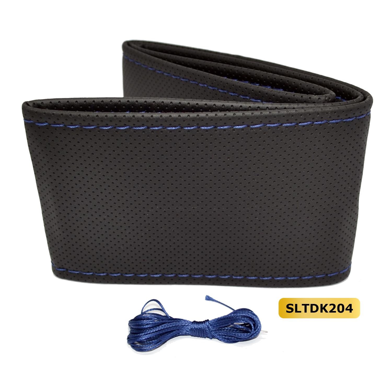 Stuur bekleding (doe-het-zelf) kunstleder geperforeerd - Zwart / blauw stiksel